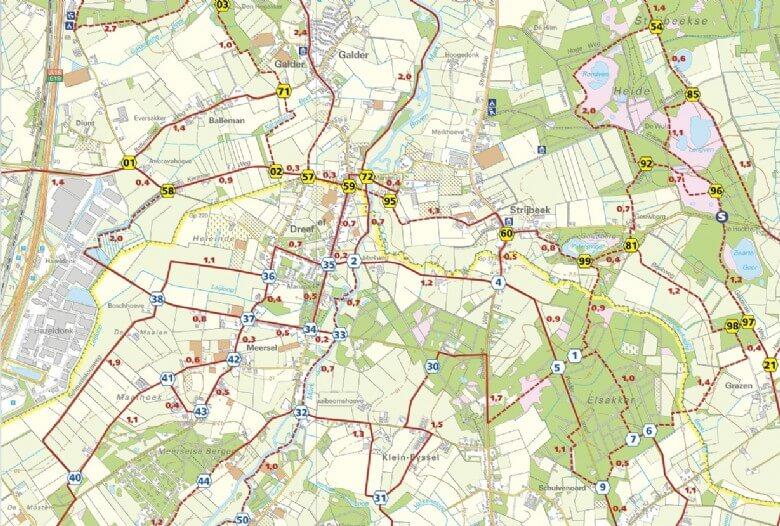 Wandelkaart Strijbeek-Galder